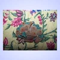 Deco Style Camphor Celluloid Basket of Flowers Celluloid Brooch  Pin with Paint