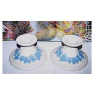 ECanada Art Pottery Candle Stick Holders White Jasperware Blue Decoration