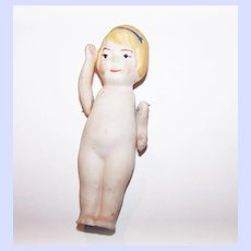 A Vintage Nippon Blond Haired Miniature Bisque Doll Jointed Shoulders