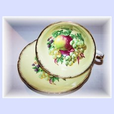 Royal Grafton England Apples, Berries , Grapes Tea Cup & Saucer