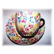 Colorful Chintz Tea Cup & Saucer Burlington Ware J Shaw & Sons LTD England