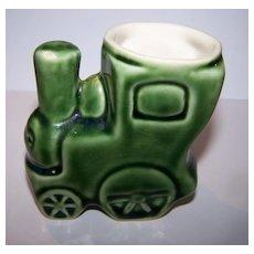 Green Porcelain Choo Choo Train Egg Cup C. 1930's