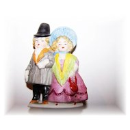 Miniature Bisque Figurine Colonial Couple Impressed 30411