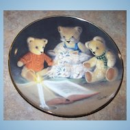 """Collector Plate Teddy Bears and Kitty Cats """"Story Hour"""" Franklin Mint"""