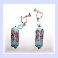 Blue Venetian Glass Wedding Cake Hand Decorated Earrings
