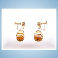 Lemon Swirls Art Glass Screw Style Earrings