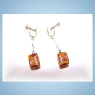Pretty Swirled  Art Glass Cubed Earrings Dangle Screw Style