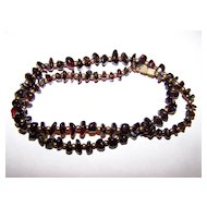 "Such A Pretty Vintage Polished Garnet Chip Necklace 68 Grams 22"" long"