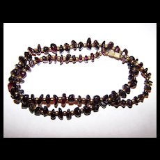 """Such A Pretty Vintage Polished Garnet Chip Necklace 68 Grams 22"""" long"""