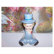 Dapper Dan Hand Painted Boy In Top Hat Figural Ceramic Napkin Holder