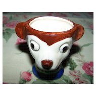 Vintage Hand Painted Ceramic Egg Cup Bear / Mouse Face  Resembles  Mickey Mouse