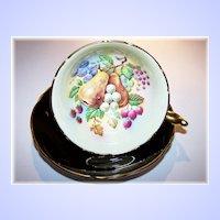 Paragon China Tea Cup & Saucer Fruit & Berries Black Ground