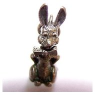 Sterling Bunny Rabbit  Mechanical Bobbing Head Charm