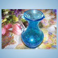"""Lovely Blue Crackle Glass Pitcher 4 7/8"""" Tall"""