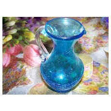"Lovely Blue Crackle Glass Pitcher 4 7/8"" Tall"
