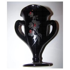 Lovely Black Purple Amethyst Glass Vase Loving Cup Floral Motif