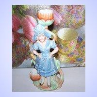Victorian Era  Girl Bisque Figural Match / Candle  Holder Striker Home Decor Accent