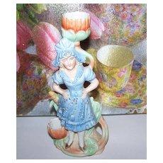 Victorian Era  Girl Bisque Figural Match / Candle  Holder Striker