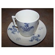 Vintage Demi-Tasse Blue Transfer Ware Thistle Cross of Lorraine Luneville