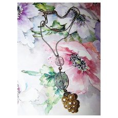 Delicate Vintage Necklace Etched Glass Floral Motif Faux Pearl Grape Cluster