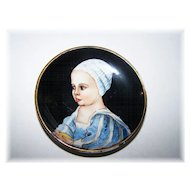 Portrait Miniature Plate Hand Painted Stamped Stuart Baby Firenze Italy