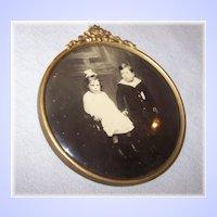 Unique Victoria Era Framed Celluloid Sepia Portrait Button Little Girl Crossed Eyes & Yng Boy