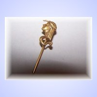 A Unique VintageCollectible  Stickpin Egyptian Revival Style Lady Profile Snake
