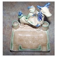 Figural Ceramic Jockey on Horse Cigarette Holder Ashtray