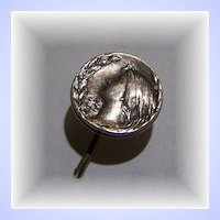 Theodore W. Foster & Bro.Co Sterling Nouveau Style Stick Pin Lady  Portrait  Flowing Hair