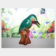 Hand Painted Kingfisher  Bird Flower Frog Impressed 6829