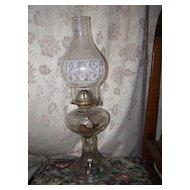 Waterbury Conn Company Glass Kerosene Lamp Wreath Torch Motif