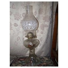 Waterbury Conn Company Glass Kerosene Lamp Wreath Torch Motif