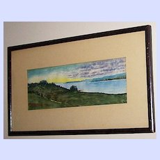 Vintage Scenic Water Color Painting Nova Scotia Canada