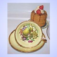 Mixed Fruit Royal Grafton Tea Cup & Saucer Yellow Ground