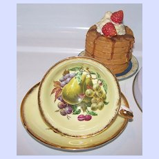 Mixed Fruit Royal Grafton Tea Cup & Saucer Yellow Ground