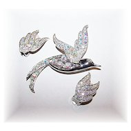 Stunning Sarah Coventry Bird of Paradise Brooch Earring Demi - Parure