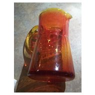 """Exceptional Vintage Orange Amberina Glass Pitcher 6"""" Controlled Style Bubble Theme"""