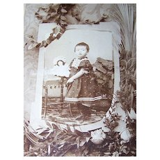 Unique Mourning Sepia  Cabinet Card Photograph Child Doll Floral Motif