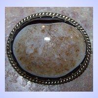 Victorian Era Polished Agate Geode Brooch / Pendant