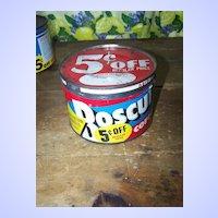 Vintage BOSCUL Drip Grind Coffee Tin Can ~  Lovely Bold Colors!