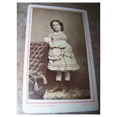 Carte De Visite Small Young Lady Possibly Little Person Status Photographer Renouls France