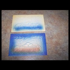 2 Embossed Easter Greetings Tinted Post Cards Bunny Rabbit Eggs