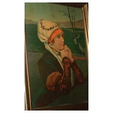 "Chromolithograph Print "" In Quiet Prayer "" True & Co Augusta Maine"