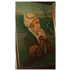 "Chromolithograph Print "" In Quiet Prayer "" True & Co Augusta Maine"