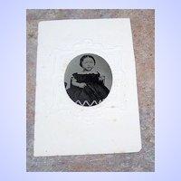 Civil War Era Tintype Photo Little Baby Girl In Black Dress