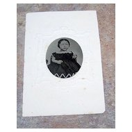 Civil War Era Tintype Photo Little Baby Girl In Black Dress
