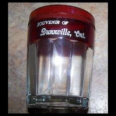 Block Optic Souvenir Ruby Glass Tumbler Dunnville , Ont Canada