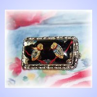 A Pretty Vintage Foil Brooch Pin Fashion Accessory  Featuring Little Birds