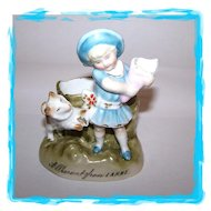 Victorian Era Souvenir Match Holder Girl Dog A PRESENT FROM LARNE