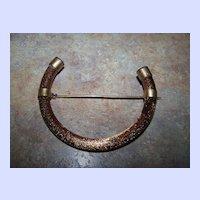 Adventurine Goldstone Art Glass  Glass  Brooch Horseshoe or Letter C